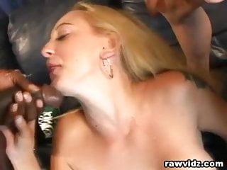 Wild Blonde Slut Interracial DP Threesome Banging