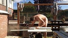 At work naked