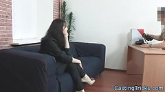 Smalltitted casting babe pounded on couch