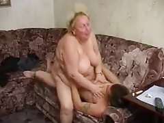 Horny russian grannys porno with young guy Thumbnail
