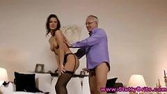 Brunete skank giving handjob to old man