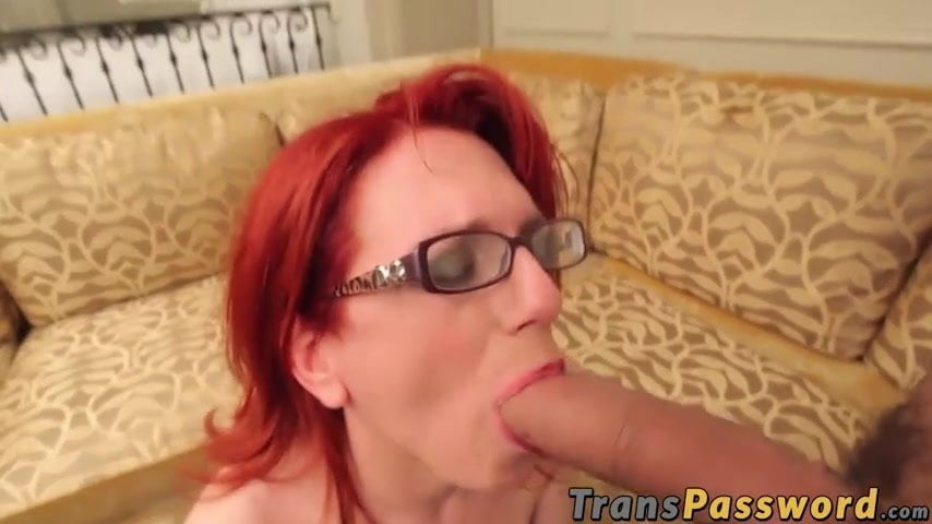 Horny blonde chick masturbating with a very hung shemale