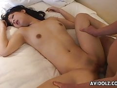 Asian bitch getting her wet pussy toy stuffed