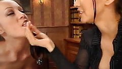 Lesbian bosslady dominates secretary, short but HOT clip!!