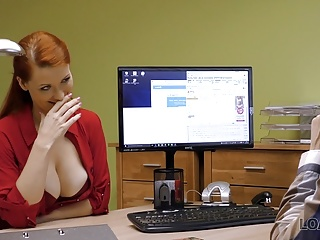 LOAN4K. Red-haired beauty has dirty sex for cash for pet