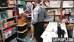 Young perpetrator bouncing on officers huge black cock
