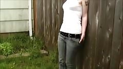 Blonde girl wets her jeans