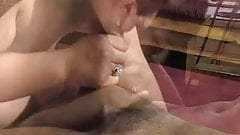 Chubby brunette blows black gu
