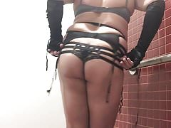 Series 2 CD strappy black garter red teddy small cock cum
