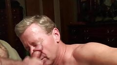 Old Faggot Cocksucker Gets Cum Facial and Eats Cum