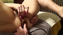 AB gets a BBC dildo inflated to huge size inside her rectum