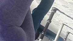 Teen in grey tight yoga pants