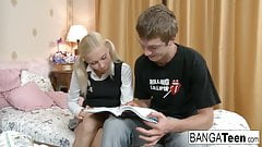 Blonde school girl needs extra help with her homework