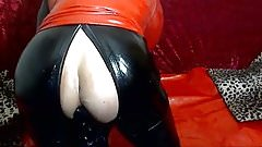 anal, rubber doll suit, dildo