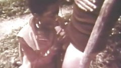 Ebony Girl Sucks and Fuck the White Man Outdoors (Vintage)