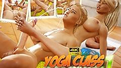 Blonde futa babes having futa sex in the yoga class