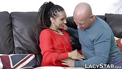 Ebony MILF fucked by British couple before creampie