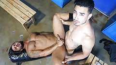 Hunk gay dudes having fun in the locker room