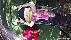 Busty blonde Alix Lynx fucks herself on a hammock