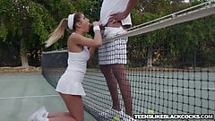 Busty August Ames fucks big black dicked tennis coach