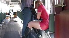 blow job in latex in a tram
