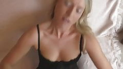 it`s very HOT  German blonde in black stockings gets creampie