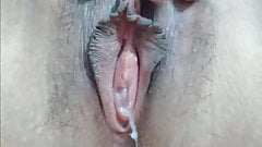 Delicious Close Up Of Creamy And Hairy Pussy's Thumb