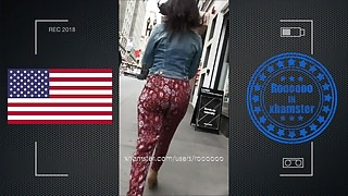 very hot jiggle booty walking in street USA