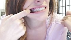 Hot Woman Showing Her Perfect Teeth & Big Mouth