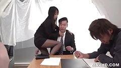 Rina Mayuzumi office hardcore with several men