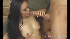 Sexy Asian brunette babe with killer body