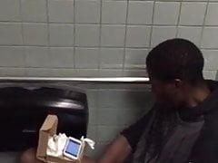 Caught black man with big dick jerking in restroom