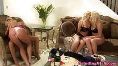 Bigtitted lesbians dildo fucking in group