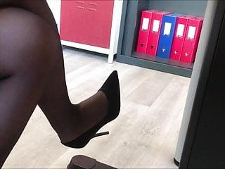 Secretary In Black Pantyhose High Heels And Dress Ii