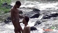 Cute Latin boys take turns at outdoor cock sucking