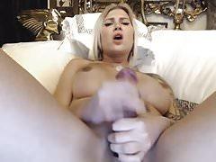 Gorgeous Blonde Trans Sucks Her Big Cock