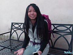 Public Agent Stranded Thai Facialised by Stranger's Thumb