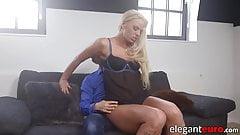 Nubile blonde girlfriend grinding on big cock before anal