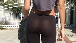 ASHLEY HAAS SEE THROUGH BOOTY PANTS