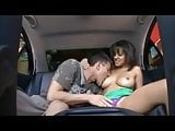 Vanessa gets fucked in the back of a car