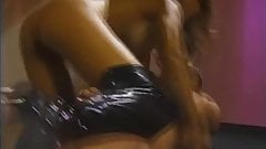 Beautiful 90s babe anal in spike heeled thigh high boots