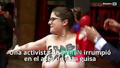 Busty Spanish activist harrasses Trump wax figure