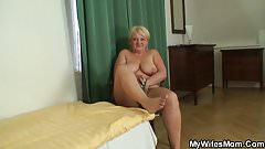 Busty blonde mom riding husband's cock