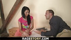 Brunette takes brutal deepthroat and banging