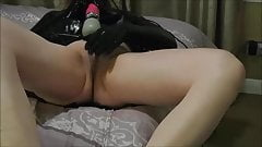 Dressing in black latex and playing with Doxy Magic Wand