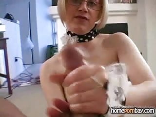 Handjob from amateur wife in glasses in hot amateur porn 2