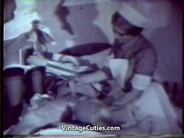 Sexy Nurses Healing Sick Patient With Sex 1950S Vintage-4890