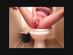 Teen bates with toy in public bathroom