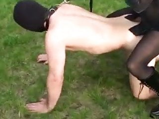 Two dominas fuck guys strapon in the ass