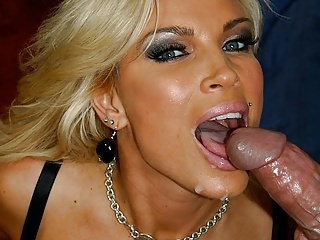 Glam milf with huge malons getting cum all over her face
